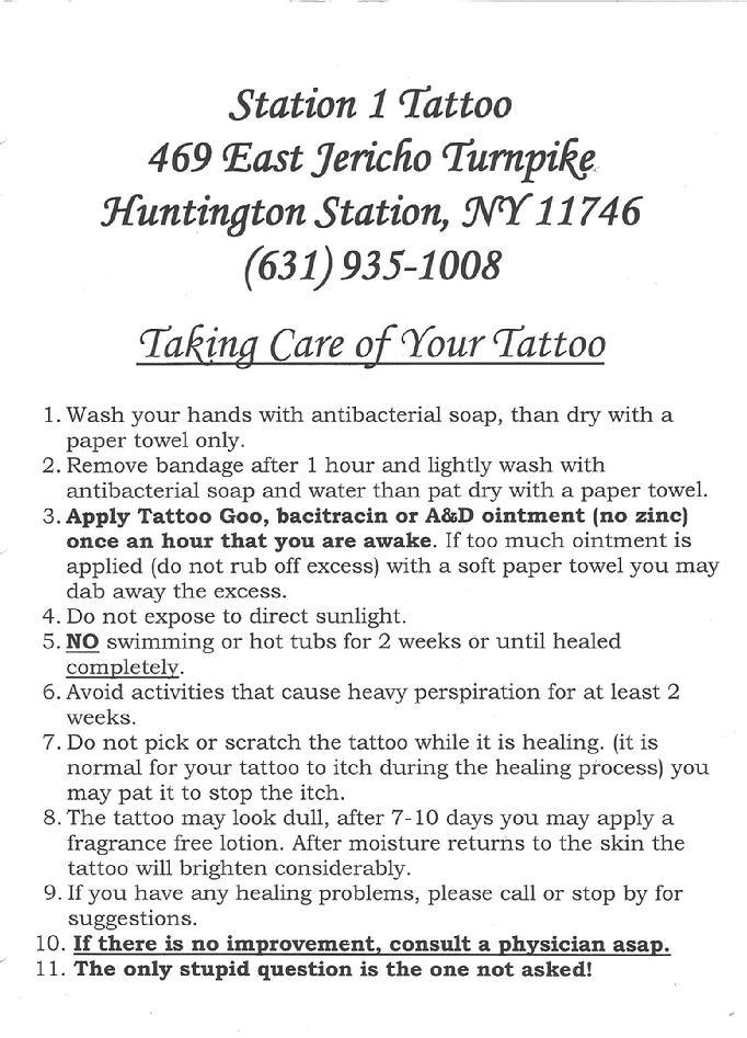STATION1TATTOO – Tattoo Consent Forms